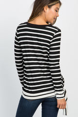 Black Striped Long Sleeve Side Tie Maternity Top