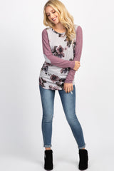 Mauve Floral Elbow Patch Top
