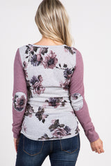 Mauve Floral Elbow Patch Maternity Top