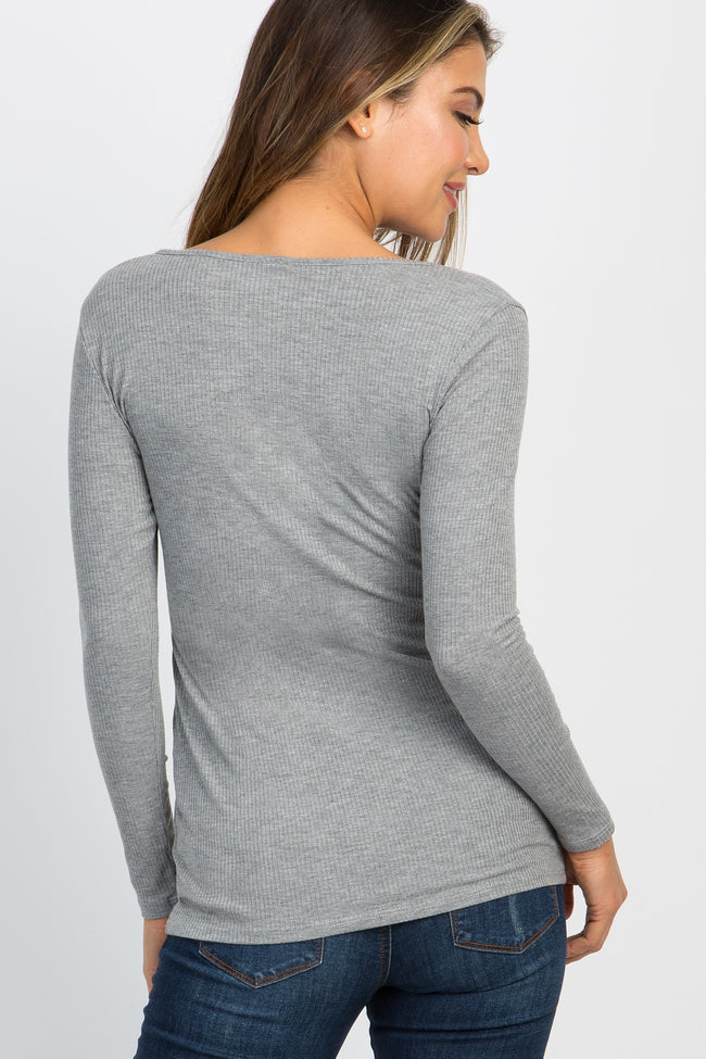 Heather Grey Knotted Top