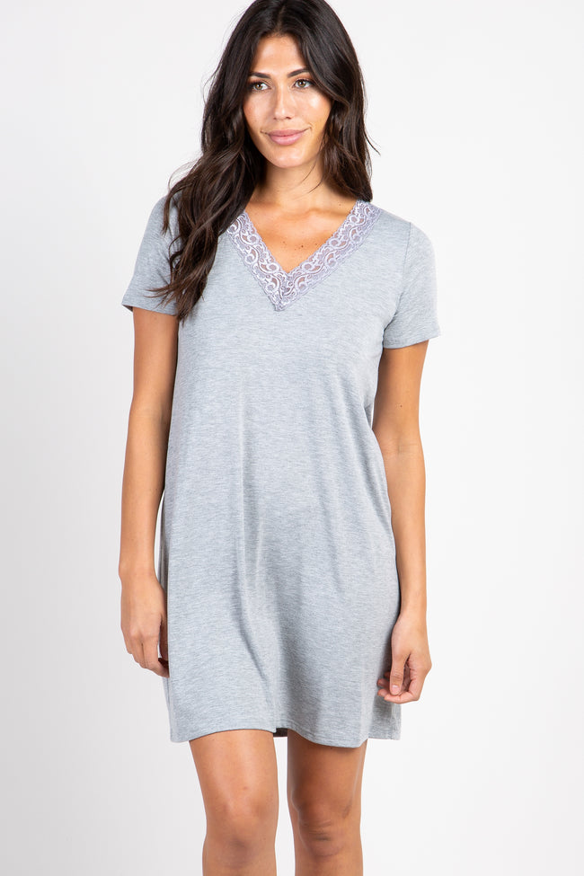PinkBlush Heather Grey Lace V-Neck Maternity Sleep Dress