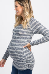 Navy Heather Striped Ruched Knit Maternity Top