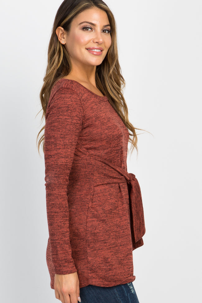 Heather Rust Long Sleeve Mock Tie Top