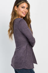 Heather Purple Long Sleeve Mock Tie Top