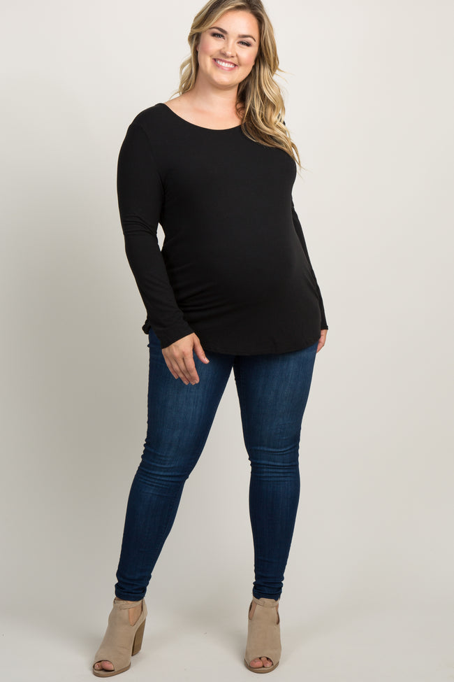 Black Interlaced Cutout Back Maternity Plus Top