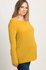 Yellow Interlaced Cutout Back Plus Maternity Top