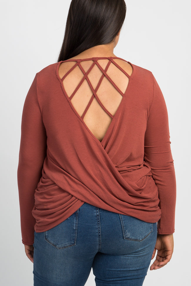 Rust Interlaced Cutout Back Plus Top
