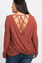 Rust Interlaced Cutout Back Maternity Plus Top