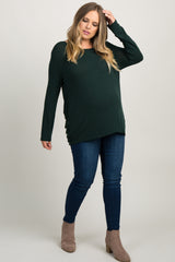 Green Interlaced Cutout Back Plus Maternity Top