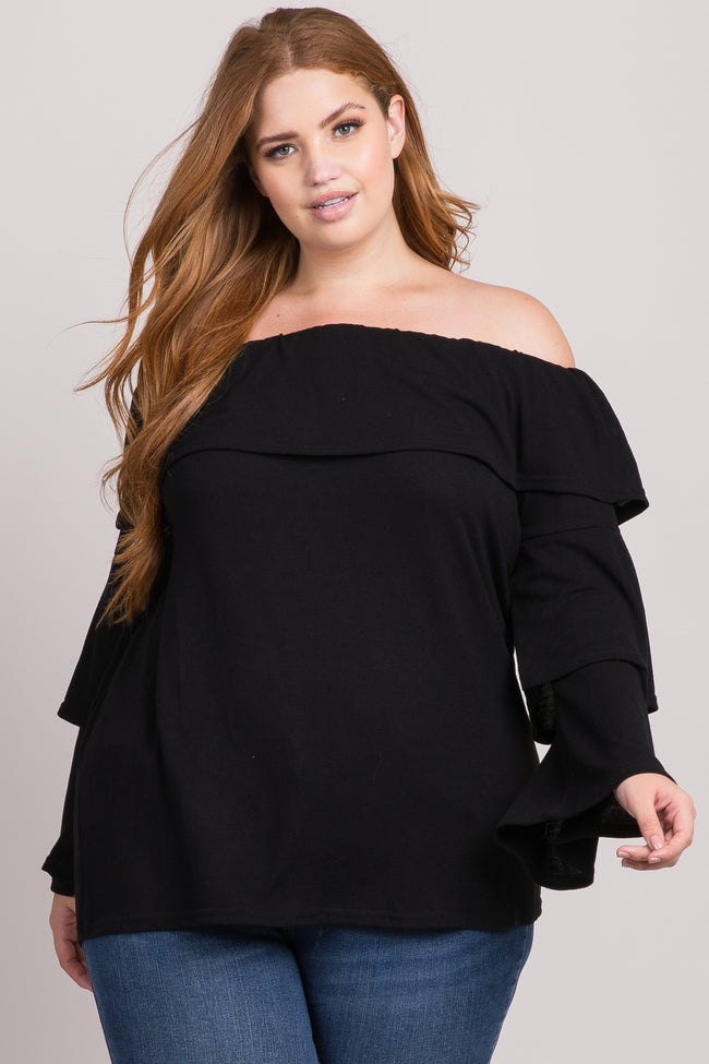 Black Tiered Sleeve Off Shoulder Plus Top