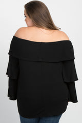 Black Tiered Sleeve Off Shoulder Plus Maternity Top
