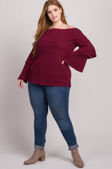 Burgundy Tiered Sleeve Off Shoulder Plus Maternity Top