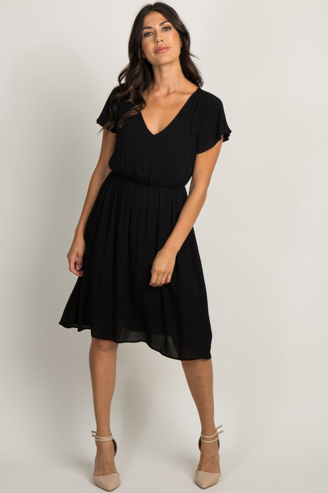 Black Solid Ruffle Sleeve Dress