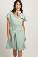 Mint Ruffle Sleeve Dress