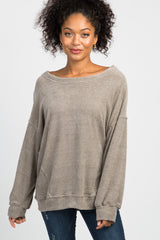Taupe Basic Chenille Knit Sweater