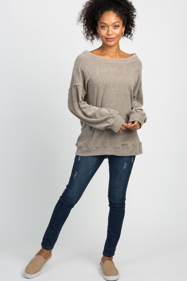 Taupe Basic Chenille Knit Maternity Sweater