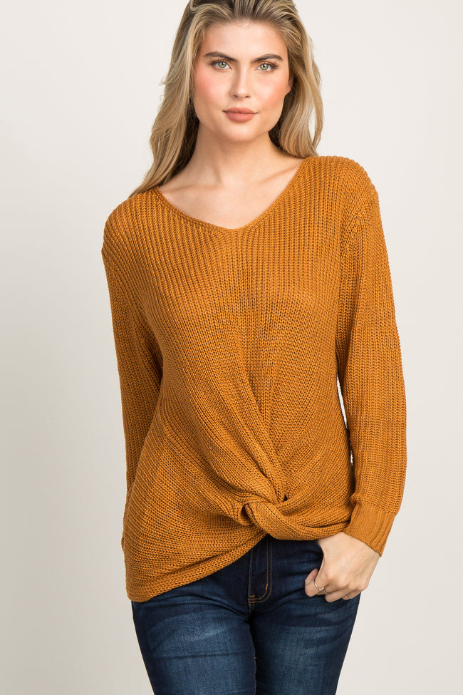 Camel Long Sleeve Knotted Hem Sweater