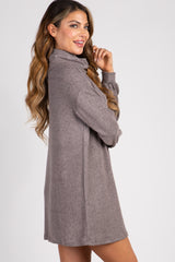 Mocha Soft Knit Cowl Neck Shift Dress