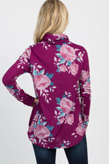 Magenta Rose Print Drawstring Funnel Neck Top