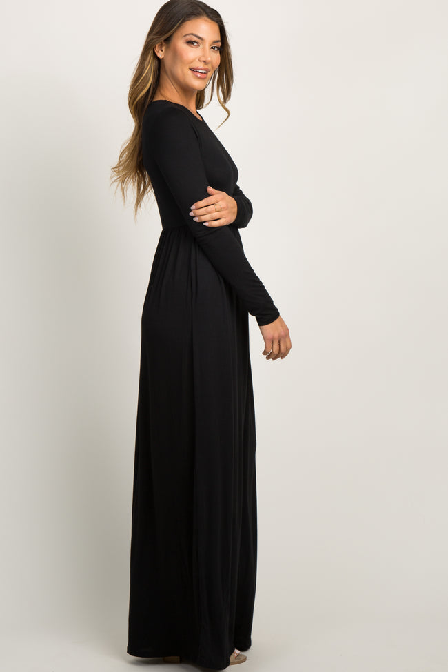 Black Pleated Long Sleeve Maxi Dress