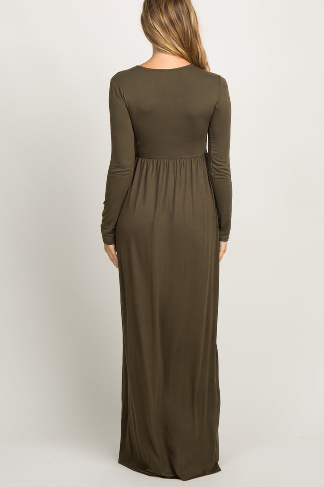 Olive Pleated Long Sleeve Maternity Maxi Dress