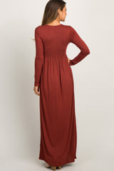 Rust Pleated Long Sleeve Maxi Dress