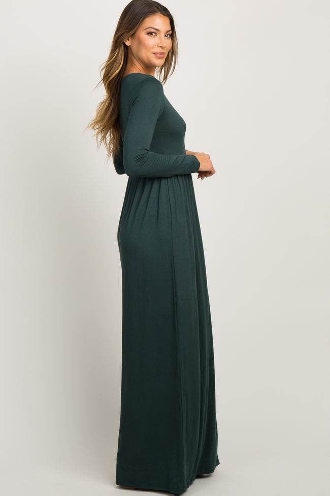 Forest Green Pleated Long Sleeve Maxi Dress