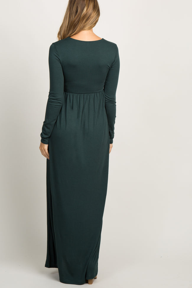 Forest Green Pleated Long Sleeve Maternity Maxi Dress