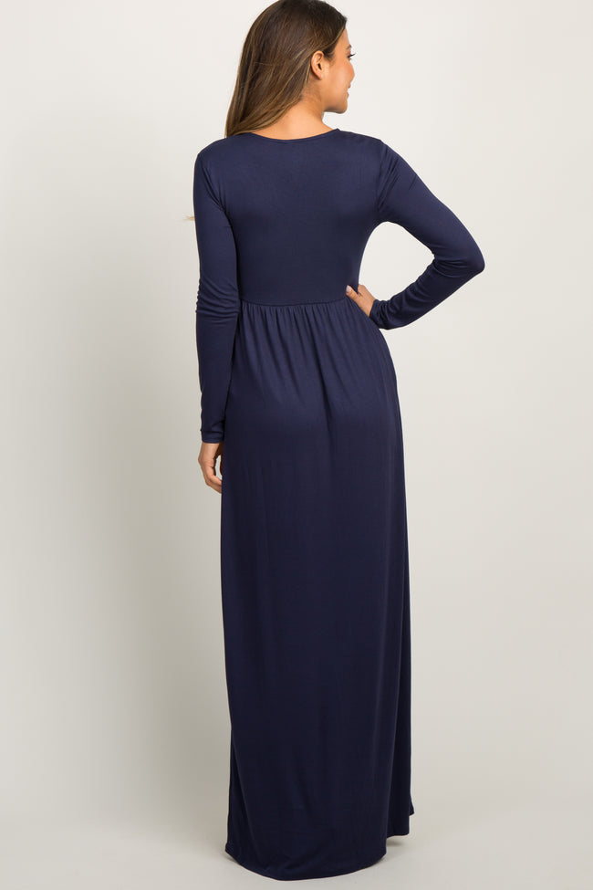 Navy Blue Pleated Long Sleeve Maxi Dress