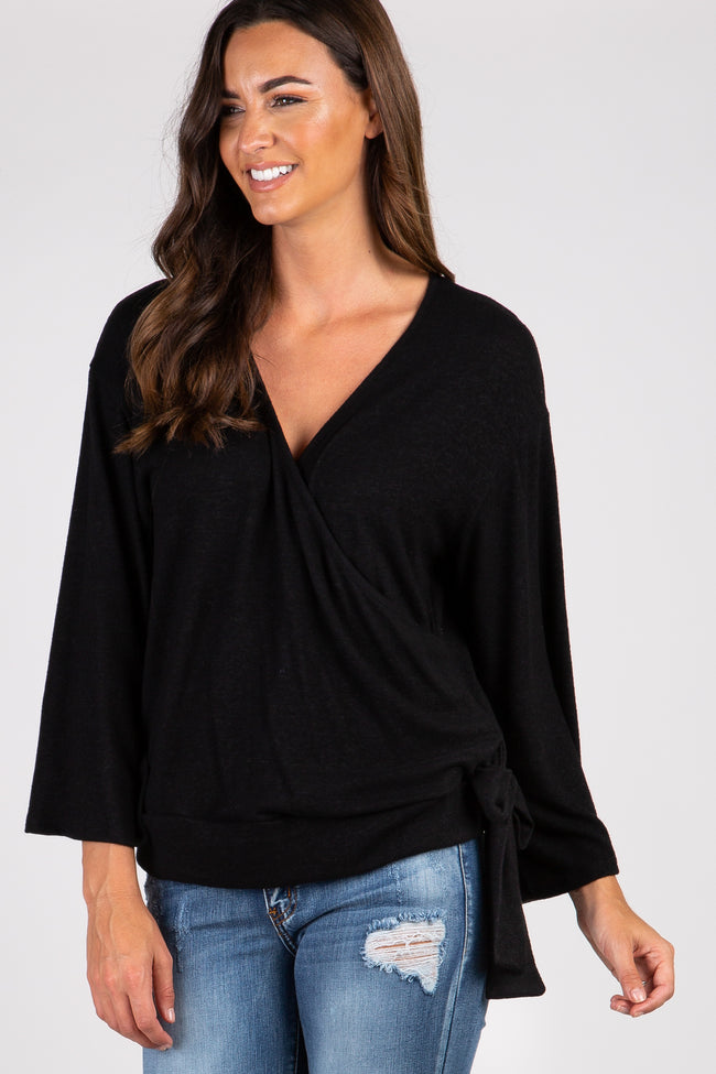 Black Solid Draped Tie Accent Maternity Top