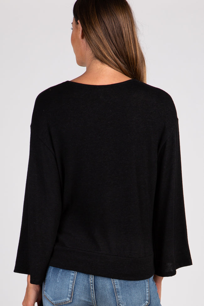 Black Solid Draped Tie Accent Top