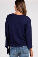 Navy Solid Draped Tie Accent Top