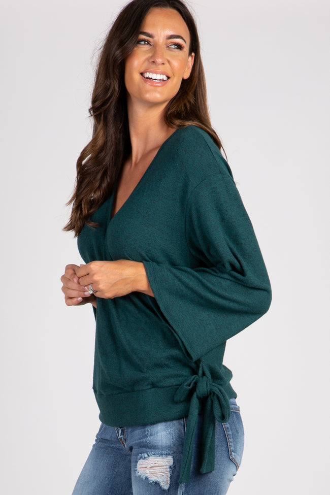 Forest Green Solid Draped Tie Accent Top