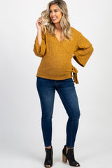 Mustard Solid Draped Tie Accent Maternity Top