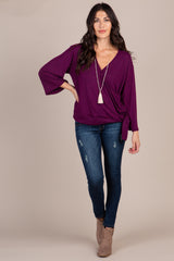Plum Solid Draped Tie Accent Top