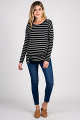 Black Striped Tie Front Long Sleeve Maternity Top