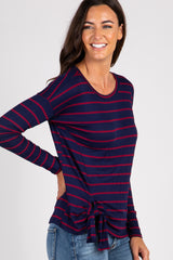 Navy Striped Tie Front Long Sleeve Top