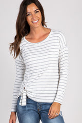 White Striped Tie Front Long Sleeve Top