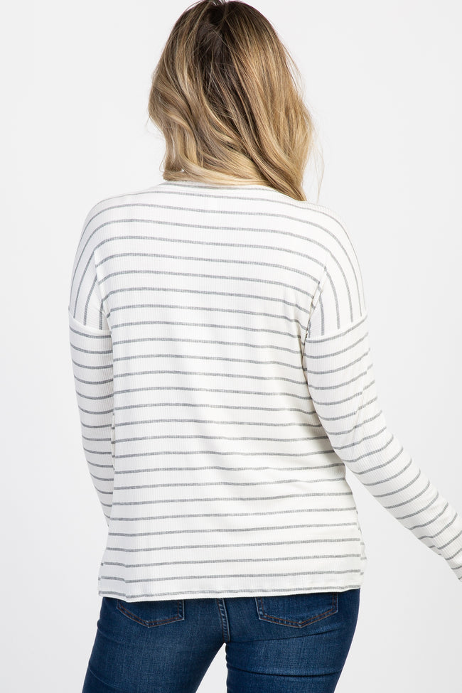 White Striped Tie Front Long Sleeve Maternity Top