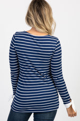 Navy Striped Long Sleeve Tie Top