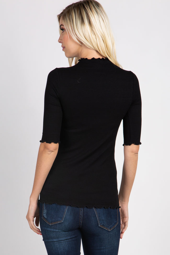 PinkBlush Black Lettuce Hem Fitted Top