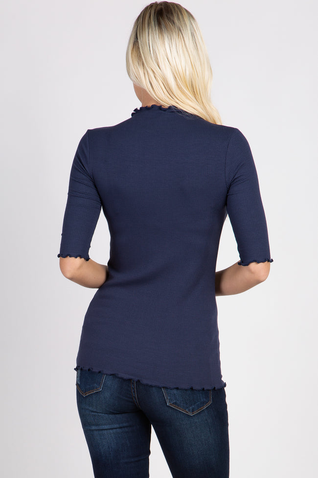 PinkBlush Navy Lettuce Hem Fitted Top