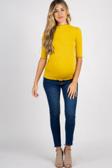 Yellow Lettuce Hem Fitted Maternity Top