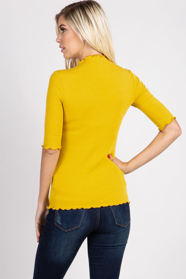 Yellow Lettuce Hem Fitted Top