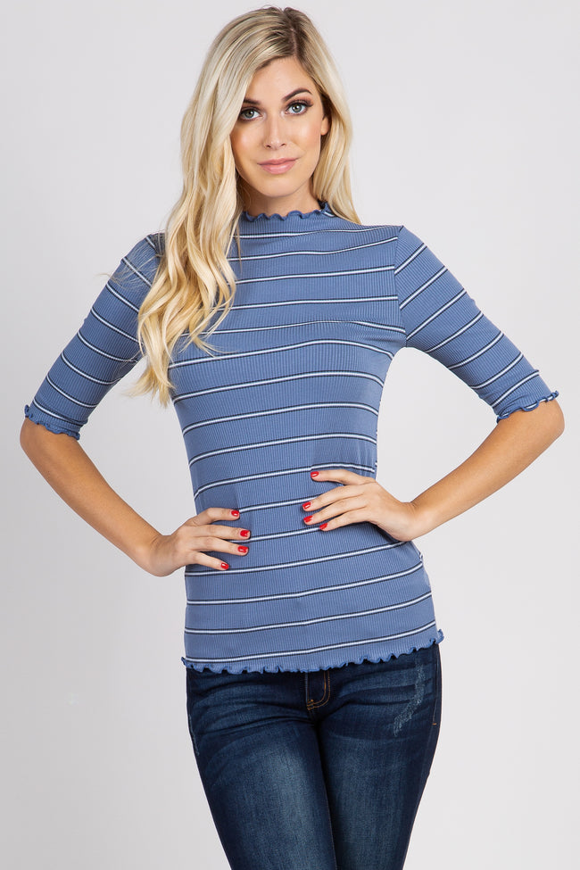 Blue Striped Lettuce Hem Ribbed Maternity Top