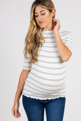 Cream Striped Lettuce Hem Ribbed Maternity Top
