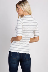 Cream Striped Lettuce Hem Ribbed Top