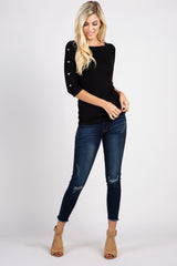 PinkBlush Black Button Accent 3/4 Sleeve Top