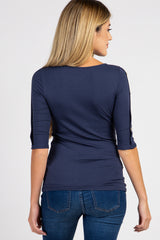 PinkBlush Navy Button Accent 3/4 Sleeve Maternity Top