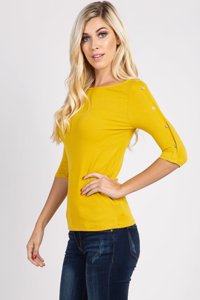 Yellow Button Accent 3/4 Sleeve Top